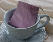 RESERVED FOR SUSANNAH - Reusable tea-dyed tea bag, muslin, hemp, hibiscus, medium size, pink - set of 16