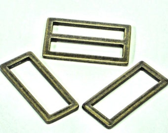 """6 pc Set of 1.5""""  D-Rings & Sliders,  4 Rectangle D-Rings + 2 Sliders,  Purse Hardware Supplies @ MeiMei Supplies in USA"""