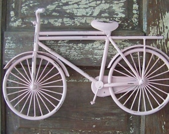 Distressed Metal Bike-Shabby Chic Wall Decor-Chippy Paint