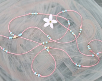 Turquoise and Gold on Pink Silk Necklace
