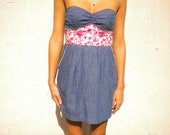 SALE Denim Strapless Dress with Pink Floral Waist and Rhinestones Size M