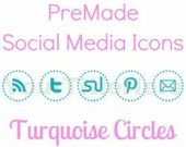 PreMade Social Media Icon Dotted Circles in Light Turquoise