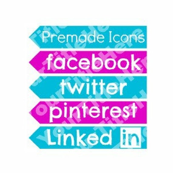 PreMade Social Media Icon Arrow Banner Turquoise Pink