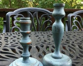 Pair of Hand Painted Provence Blue  and Graphite Vintage Inspired wooden Candle Stick holders