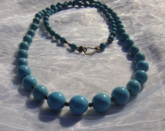 """RUNWAY INSPIRED Brass and Turquoise Necklace, 36"""" Beads size 6-16mm Beautiful, Chunky and  Fast Shipping"""