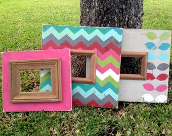 trio frame set distressed picture frames 5x5, 4x6, 5x7 multi color chevron & leaf pattern | gift for her | modern picture frame | wall decor