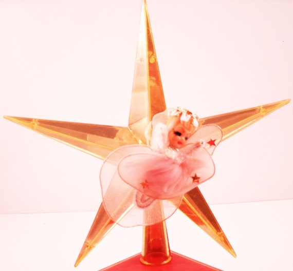 Vintage Plastic Star Tree Topper with Angel