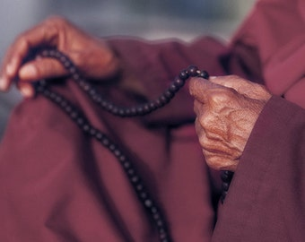 """Buddhist Monk with Prayer Beads: Kathmandu, Nepal/ Fine Art Print from the HarmonyWishes Collection/ 6"""" x 9"""" image on 8.5"""" x 11"""" paper"""