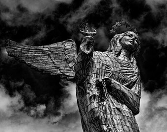 """El Panecillo: Virgin of Quito, Ecuador/ Fine Art Print from the HarmonyWishes Collection/ 6"""" x 9"""" image on 8.5"""" x 11"""" paper"""