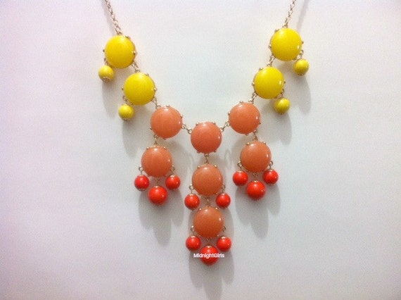 Free Shipping & Gift Wrapping, Bubble Necklace, Bubble Statement Necklace, Coral Yellow Bubble Necklace, J Crew Inspired, Coral Yellow,