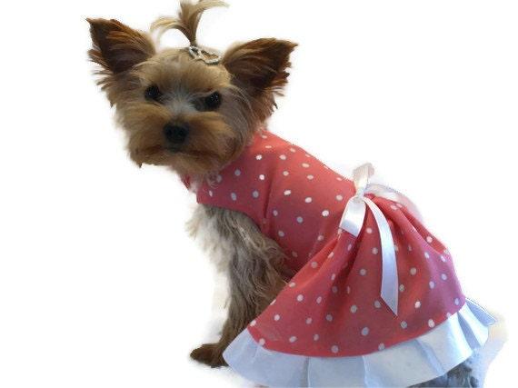 Dog Dress, Peach / White Polka Dot  Size Small
