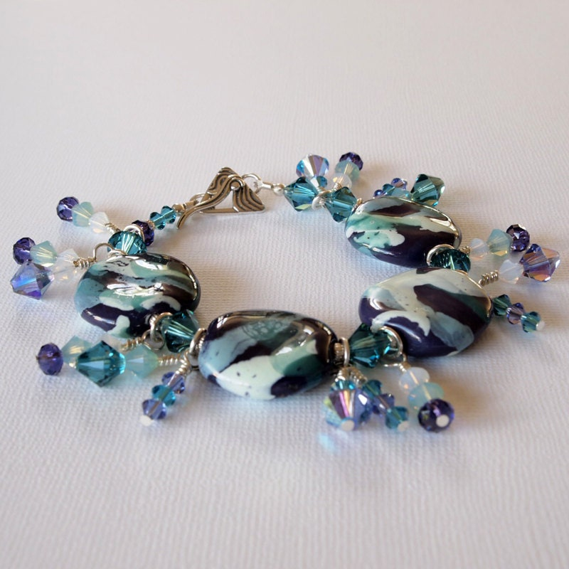 African Kazuri Bracelet in Purple Blue & Aqua Swarovski
