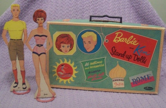 1962 Barbie and Ken Stand Up Doll Set with Suitcase - Whitman Paper Dolls with Plastic Stand in Original Box