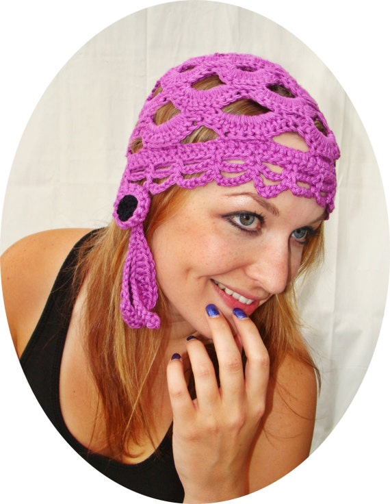 Orchid Pima Cotton Gypsy Beanie with Drop Flower
