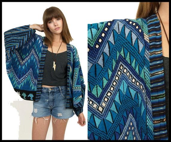 TRIBAL Embroidered Cotton Ethnic Zig Zag Vintage CAPE Jacket Blue