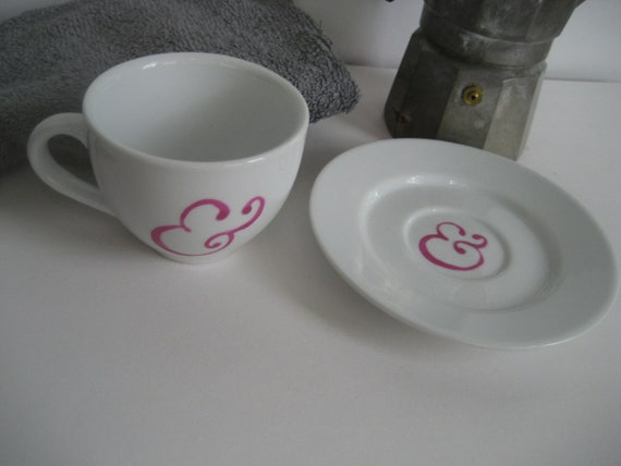 Ampersand Cup and Saucer Pink