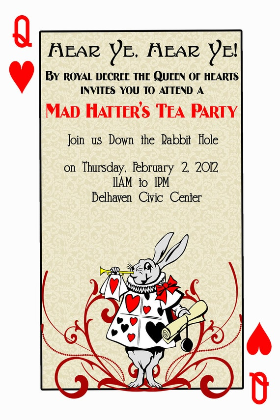Items similar to Alice in Wonderland tea party White Rabbit Playing Cards Queen King ...