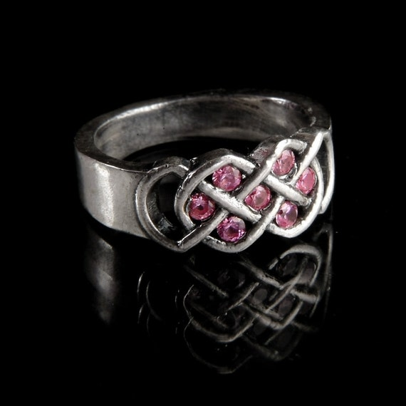 Celtic Pink Sapphire Ring With Infinity Knot Design in Sterling Silver, Made in Your Size CR-771
