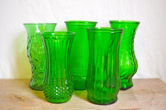 Set of (5) Vintage Green Glass Floral Vases /// Perfect for Wedding Decor