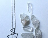 BXC: 3-Point Necklace Oxidized Sterling Silver Triple Triangle Hand Soldered Minimal