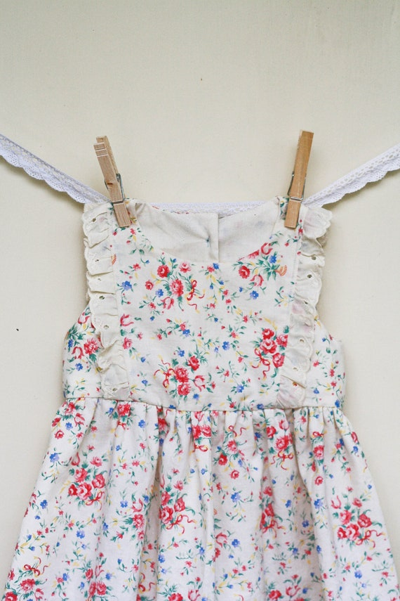 12M Baby Dress - Vintage style floral dress with eyelet detail