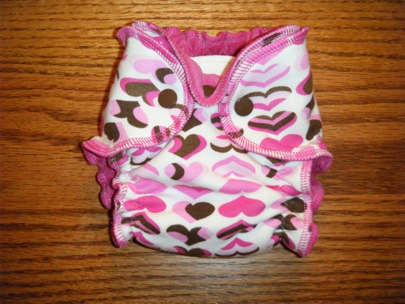 Newborn Fitted Cloth Diaper - Pink and Brown Hearts