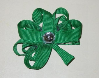 "NEW ""IRISH SHAMROCK"" St. Patty's Day Girls Hairbow Clip Ribbon Sculpture"