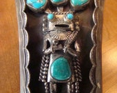c1970's Helen Long Sterling Silver & Turquoise Kachina Bolo PRICE JUST REDUCED