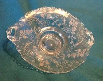 Beautiful Etched Glass Candy Dish, 1960's