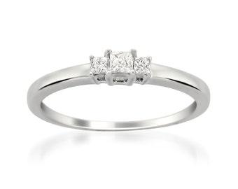 14k White Gold Princess-cut 3-Stone Diamond Engagement Wedding Ring (1/5 cttw, I-J, I1-I2)