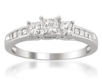 14k White Gold Princess-cut Three-Stone Diamond Engagement Ring (1 cttw, H-I, I1-I2)