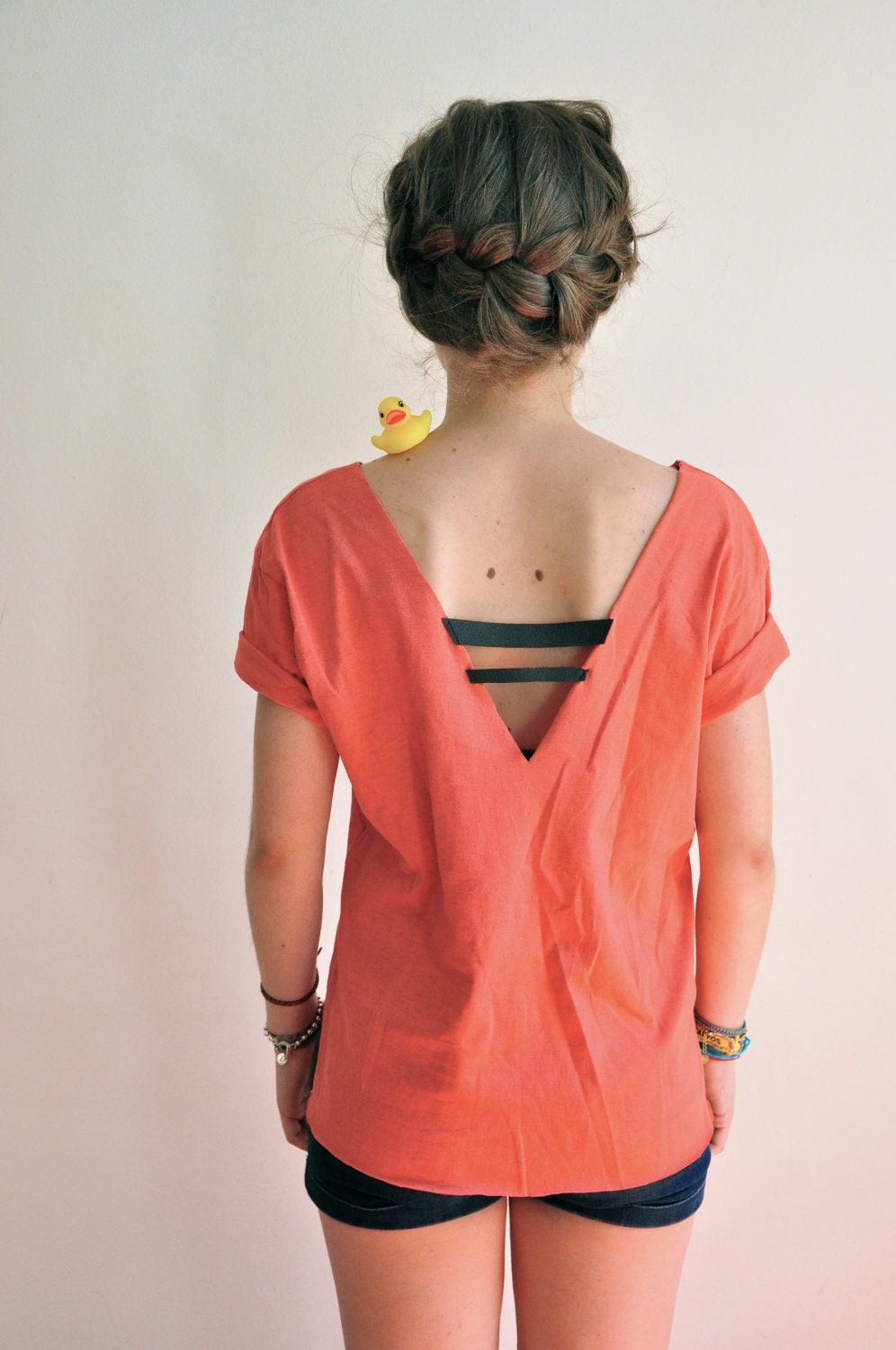 ginger back less coral colored tee shirt by aftertasteclothing
