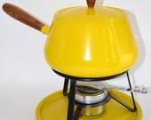 Vintage Yellow Fondue Pot - 1970s
