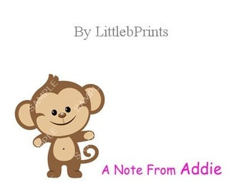 Monkey Note Cards Set of 10 personalized flat or folded cards