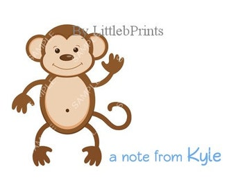 Monkey Waving Note Cards Set of 10 personalized flat or folded cards