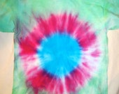Green, Pink and Blue Bulls-Eye Style TieDye T-Shirt Youth Large