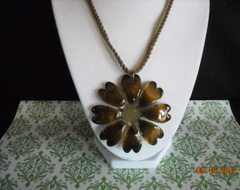 vintage brown  metal  flower necklace/pin     60