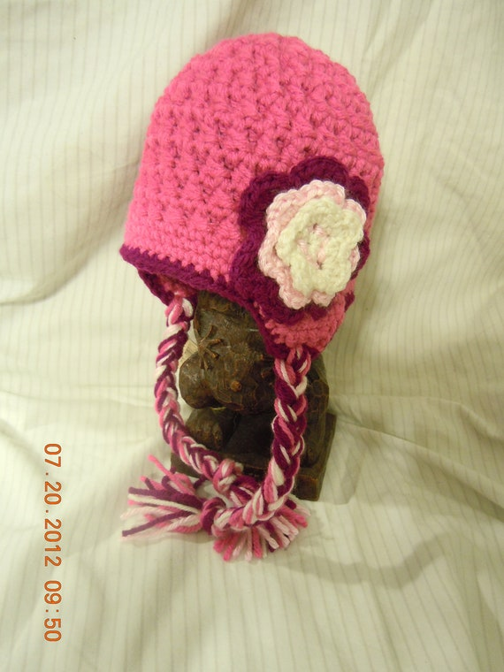 Textured Girls Ear Flap Hat with Tassles, Customizable to your Favorite Colors!