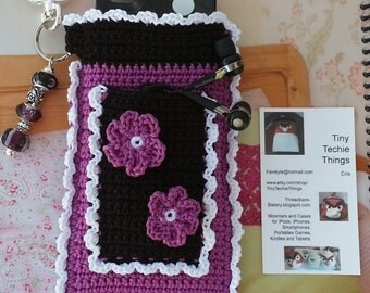 """Purple, Black and White Dolled Up """"Bloomer"""" Crochet Case with Beaded Keychain for iPhone, Camera, Smart Phone, MP3 Player"""