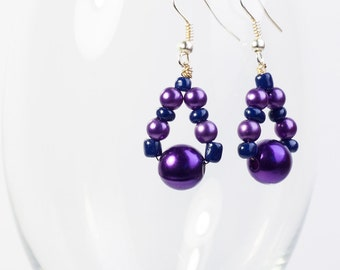 Dazzling Fashion Earrings - Violet and Blue Beads Earrings