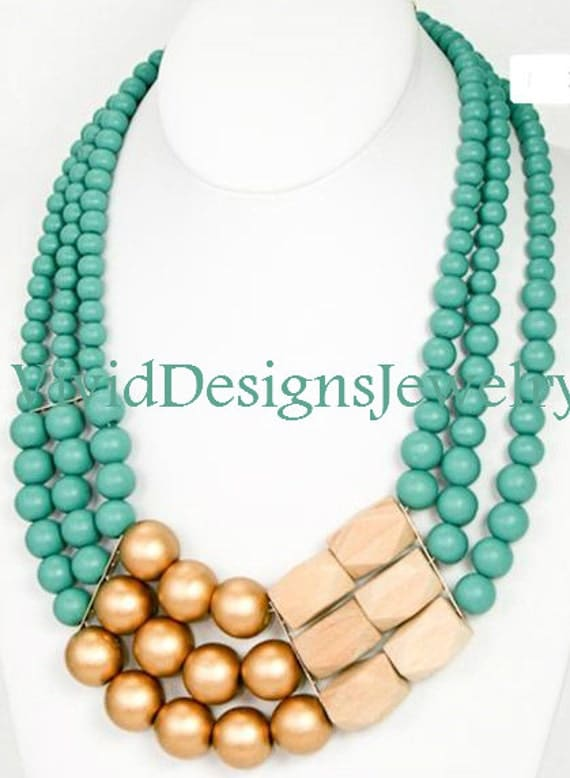 Chunky Turquoise, Gold and Wood Layered Statement Necklace and Bracelet Set -  Anthropologie - Turquoise and Gold Bracelet - Bubble Necklace