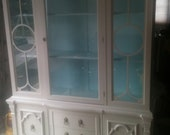 Reserved for Danielle  Grey China Cabinet with Robin's Egg Blue Interior