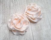 2pcs Cream rosettes DIY headband supplies - DIY headbands - Cream satin rosettes - Cream fabric flowers