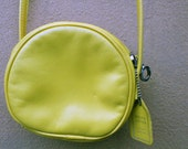Vintage Small Round Yellow Genuine Leather Cross-Body Purse