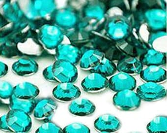 5mm 500 pieces Round Flat Back 14 facet cut Rhinestones  ----   Teal