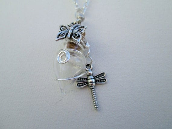 dragonfly and butterfly charm wire wrapped necklace