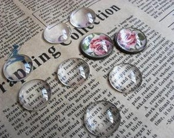 10pcs Cabochon Charms, Clear Glass Transparent Cabochon Covers - Round 20mm