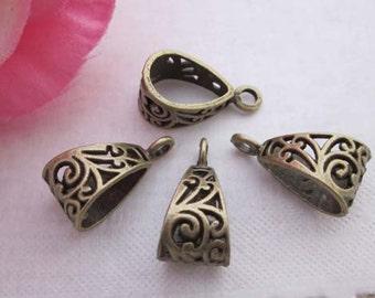 10pcs Antique Brass Pendant Bails Charm Connector Holder - Necklace Clasp Connector