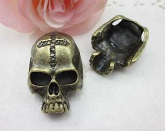 5 pcs Antique Brass Skeleton Skull Charms Pendant - 10x23x35mm