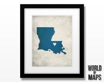 Louisiana Map Print - Home Town Love - Personalized Art Print